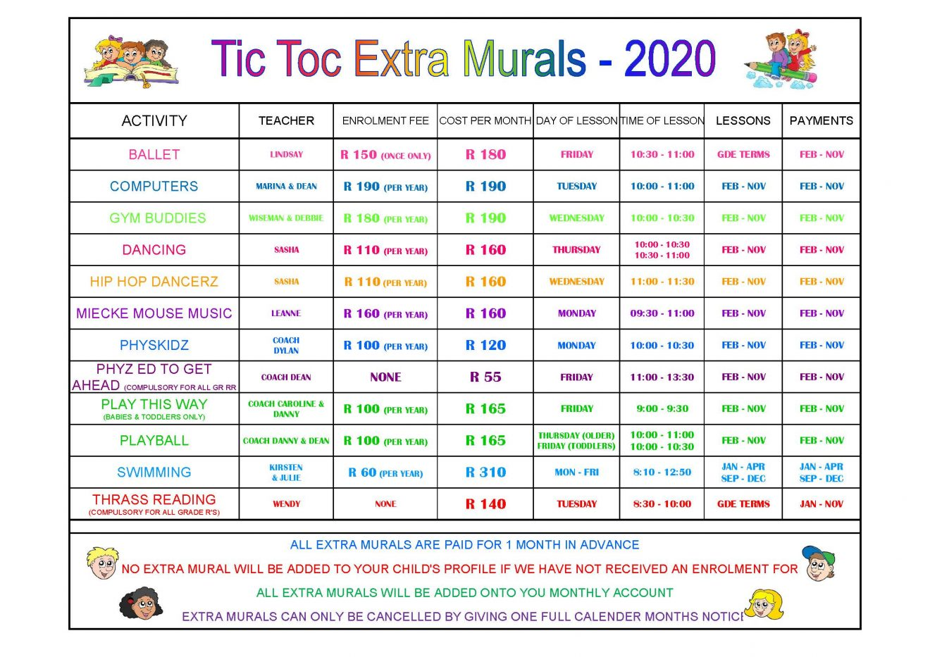 Copy of EXTRA MURAL LIST - 2020